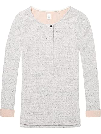 Scotch&Soda Maison Club Nomade Bonded Long Sleeve Granddad Tee, T-Shirt Femme, (Grey Melange 0g), X-Small
