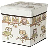 Puffy Portable and Foldable Laundry Box Cum Sitting Folding Owl Print Pouffe Sitting Stool Stool Pouffes for Living Room Puffy Stool (Multicolor) by Maa Bhagwati