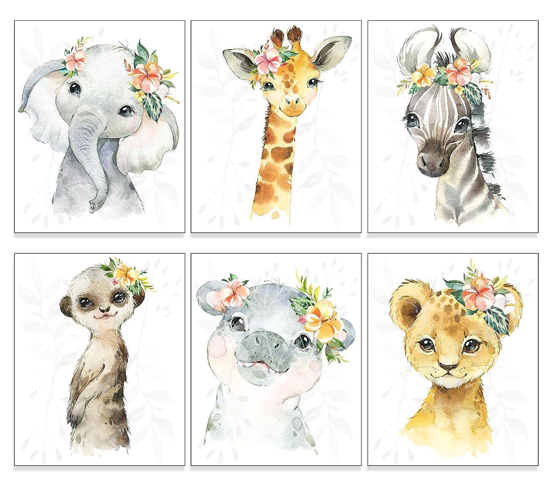 Jungle Animal Nursery Decor Art (Set of 6) UNFRAMED Wall Print, 8 x 10