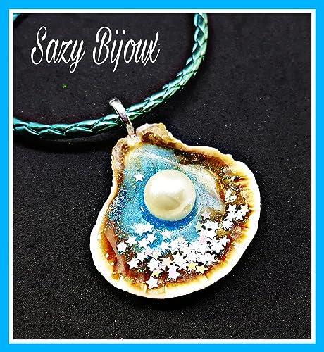 15454b9f1b46d Ciondolo con Vera Conchiglia e Perla ad Effetto Mare con glitter - fatto a  mano