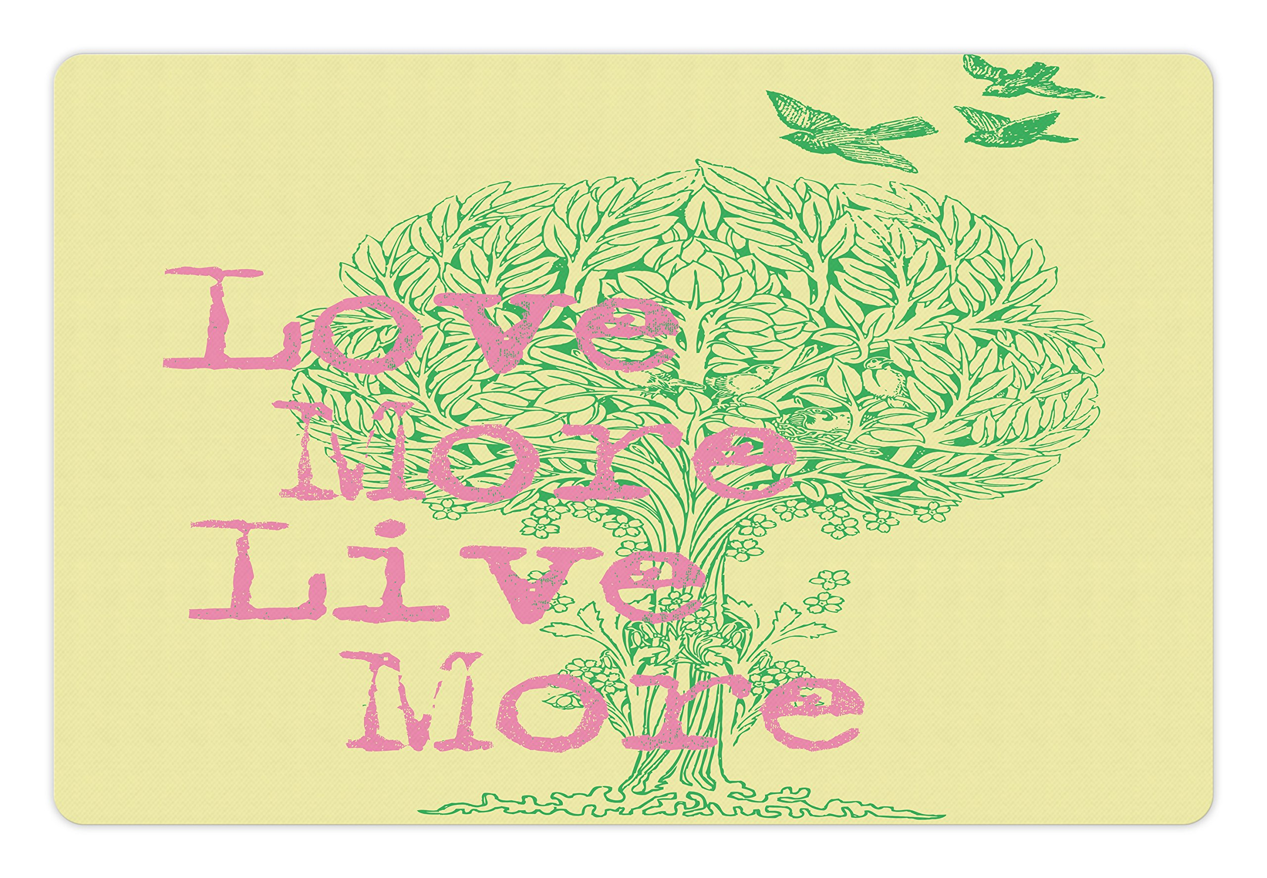Ambesonne Animal Pet Mat for Food and Water, Love Live and Peace Image Positive Wishes for the World Artistic Work, Rectangle Non-Slip Rubber Mat for Dogs and Cats, Green Soft Pink Yellow by Ambesonne (Image #2)