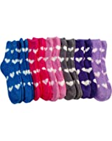 12 Pairs Of Excell Womens Butter Soft Heart Fuzzy Socks Fashion Love Fuzzy Socks