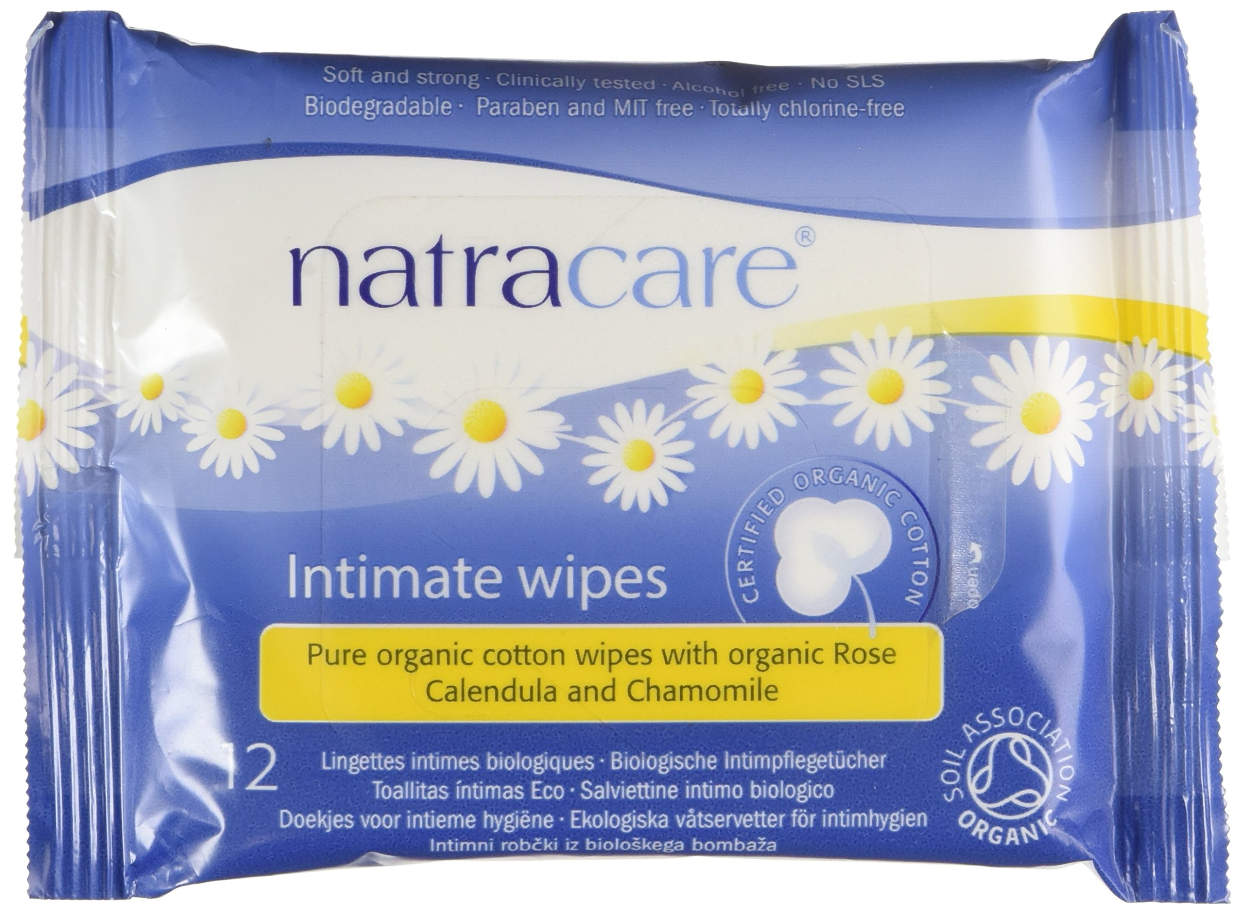 Natracare Organic Cotton Intimate Wipes, 12 Count (Pack of 24) product image
