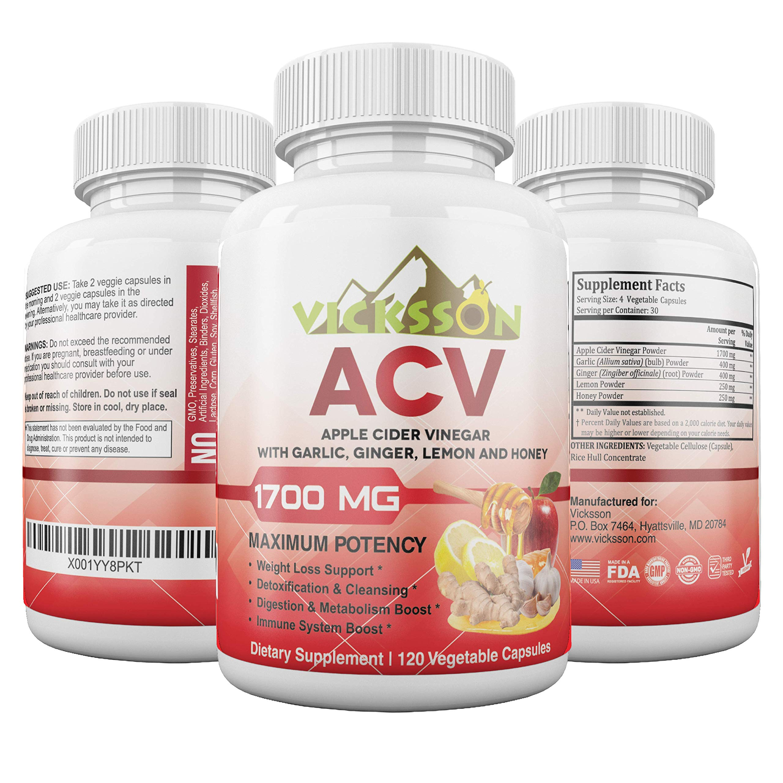Vicksson Apple Cider Vinegar Pills 1700 mg of ACV with Garlic, Ginger, Lemon & Honey for Weight Loss, Detox, Cleanse, Appetite Suppressant, Metabolism & Immune Booster, Bloating Relief | 120 Capsules Price: $14.99