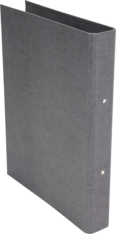 Carpeta de 2 anillas Bigso Box of Sweden color gris tablero de fibra y papel con aspecto de lino, para documentos, fundas transparentes o separadores