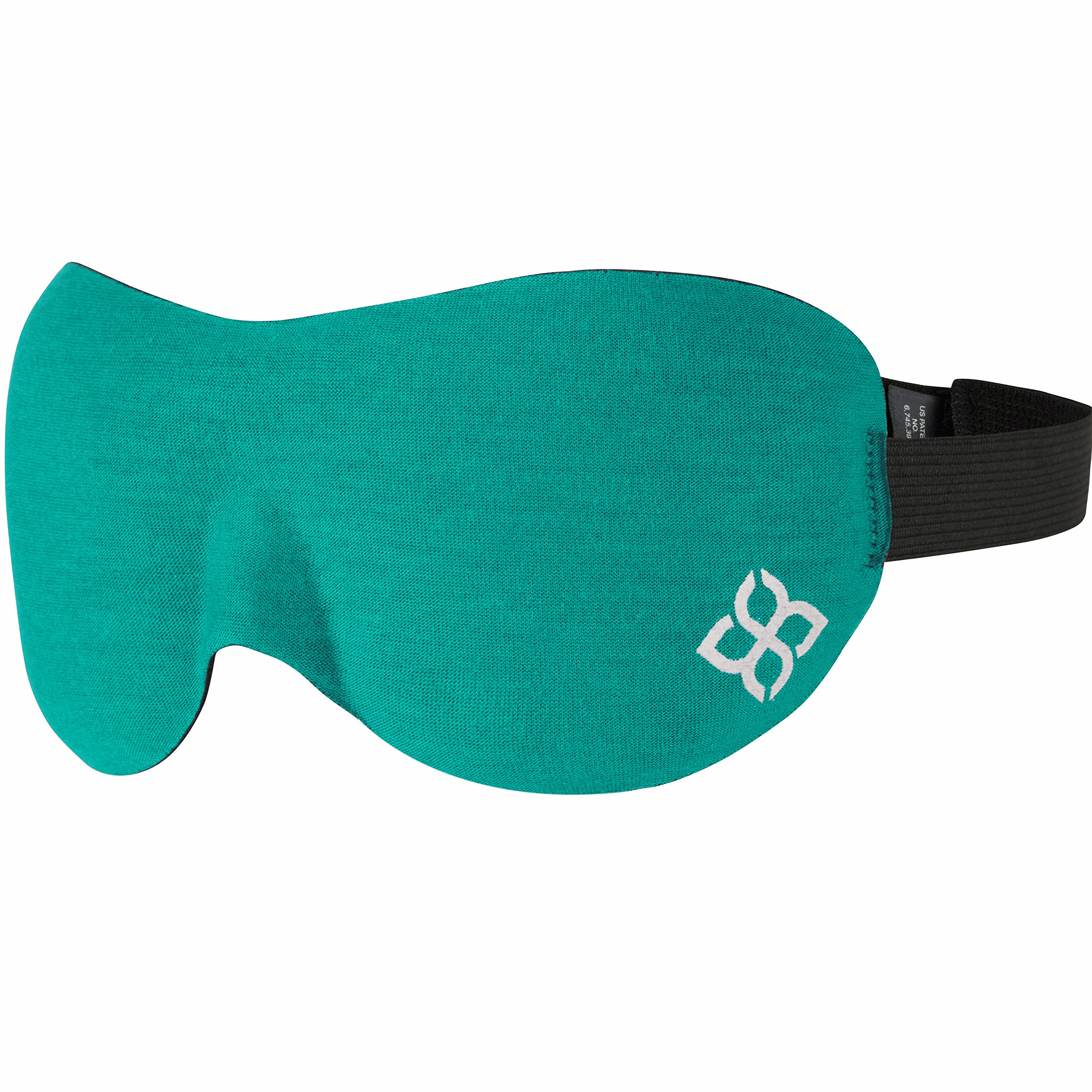 Sleep Mask by Bedtime Bliss - Contoured & Comfortable with Moldex Ear Plug Set. Includes Carry Pouch for Eye Mask and Ear Plugs - Great for Travel, Shift Work & Meditation (Turquoise)
