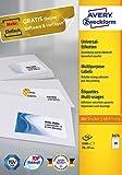 Avery Zweckform 3474 Universal-Etiketten (A4, Papier matt, 2,400 Etiketten, 70 x 37 mm) 100 Blatt weiß