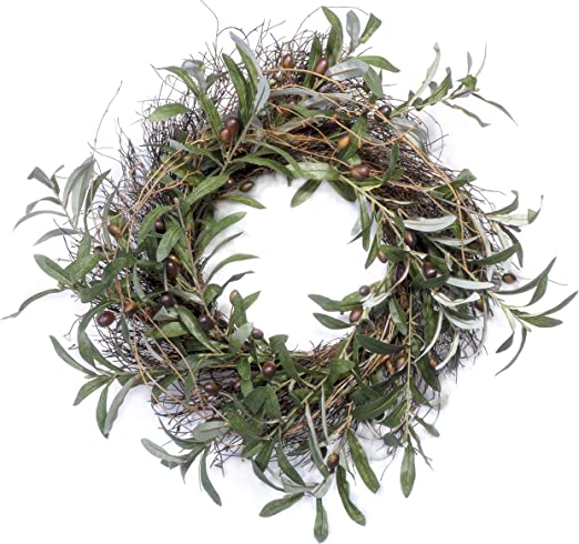 Red Co Wisteria Spring Inspired 22 Natural Twig Wreath Home Decor for Front Door or Indoor Wall Artificial