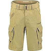 Geo Norway Prio Bermuda voor heren, casual katoen, korte shorts met riem, normale pasvorm