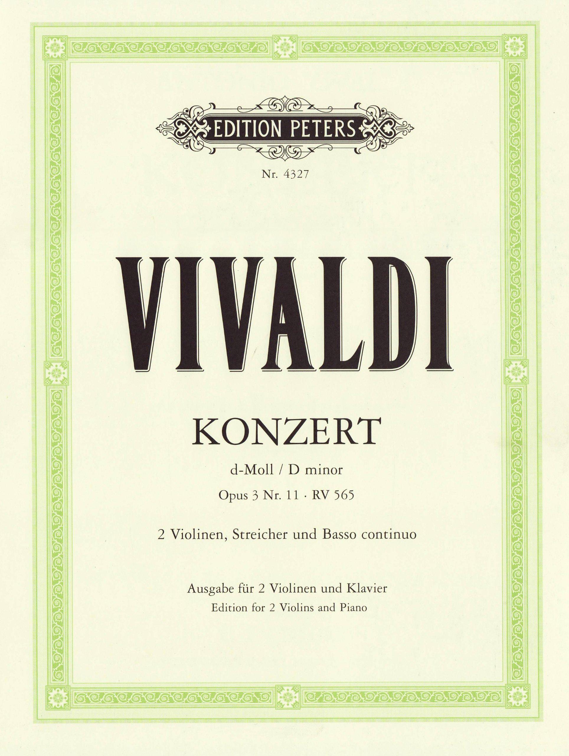 Konzert für 2 Violinen, Streicher und Basso continuo d-moll op. 3 Nr. 11 RV 565: aus