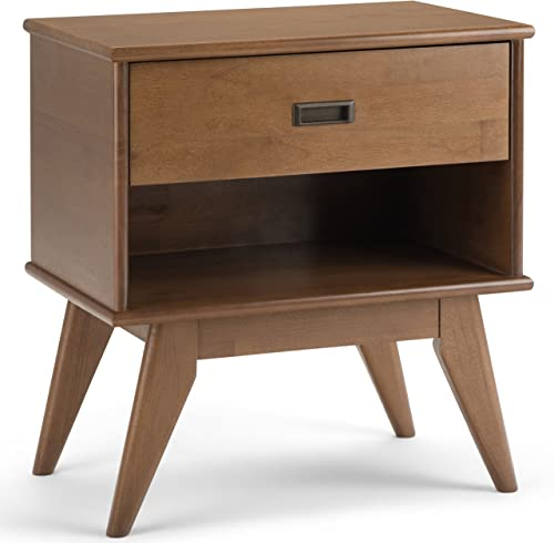 Simpli Home Draper SOLID HARDWOOD 24 inch Wide Mid Century Modern Bedside Nightstand Table
