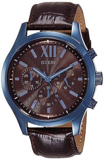 Guess Reloj analogico para Hombre de Cuarzo con Correa en Piel W0789G2: Amazon.es: Relojes