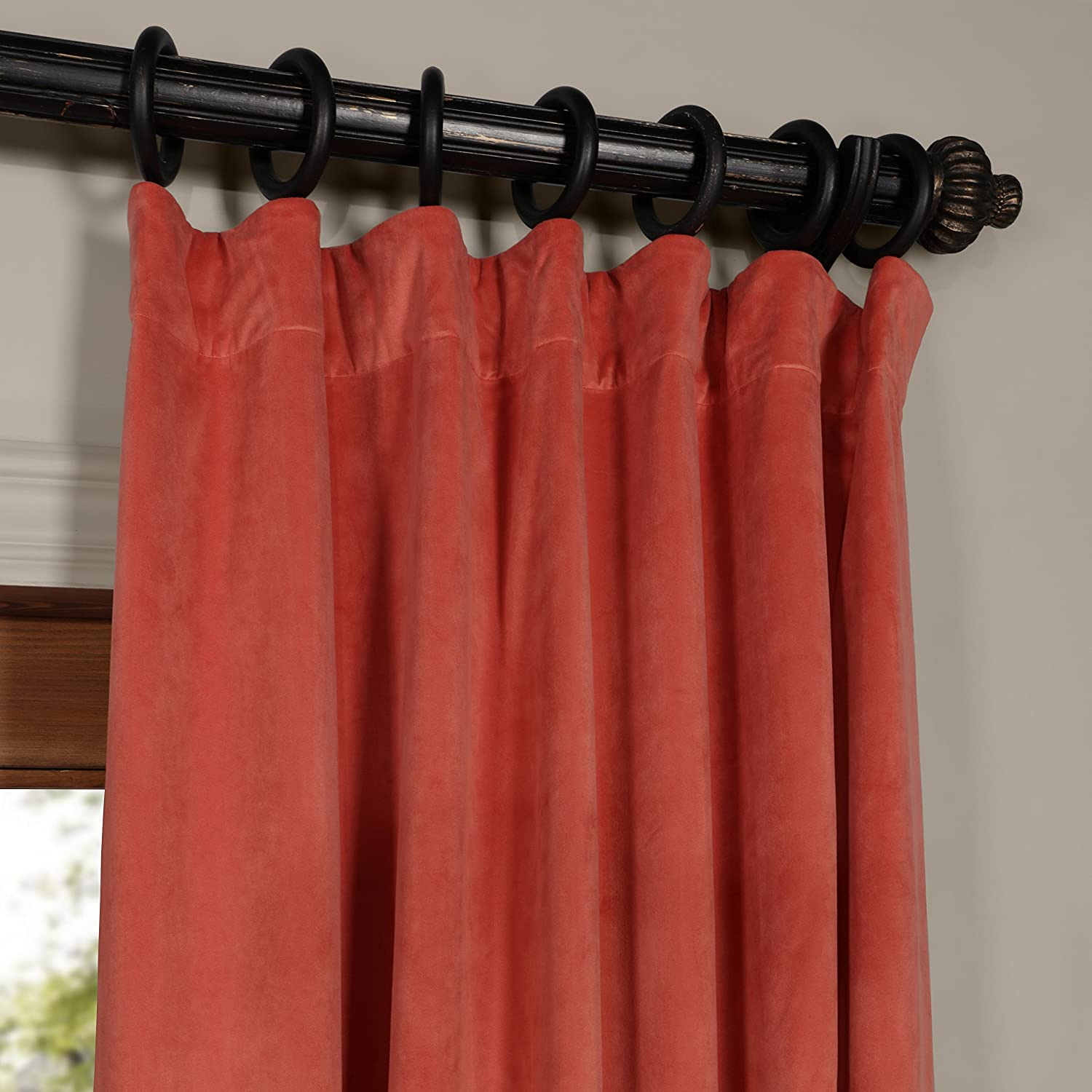 Half Price Drapes VPCH-160406-96 Signature Blackout Velvet Curtain, Desert Coral, 50 X 96