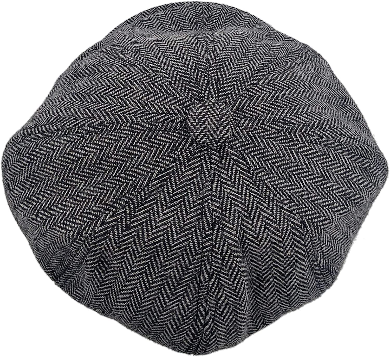 58 cm medium £6.99 only Black wool mix Shaped Flat Cap,winter cap