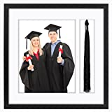 Americanflat Black Tassel Frame - Made to Display 8x10 inch Photo and Standard Sized Tassel. Shadow Box, 1.5-inches Deep