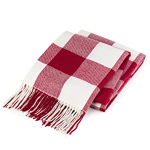 """Good MANORS Buffalo Check Plaid Throw Blanket - 50"""" x 60"""" Very Lightweight, Outdoor, Summer - Modern Farmhouse Decor for Couch, Chair, Bed - Woven with Fringe, Red & Off-White"""