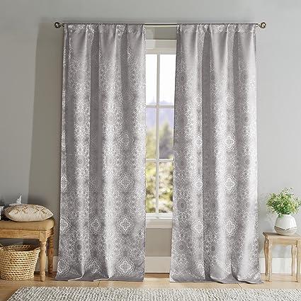 Acero gris Paisley Print poste ventana superior par panel cortina ...