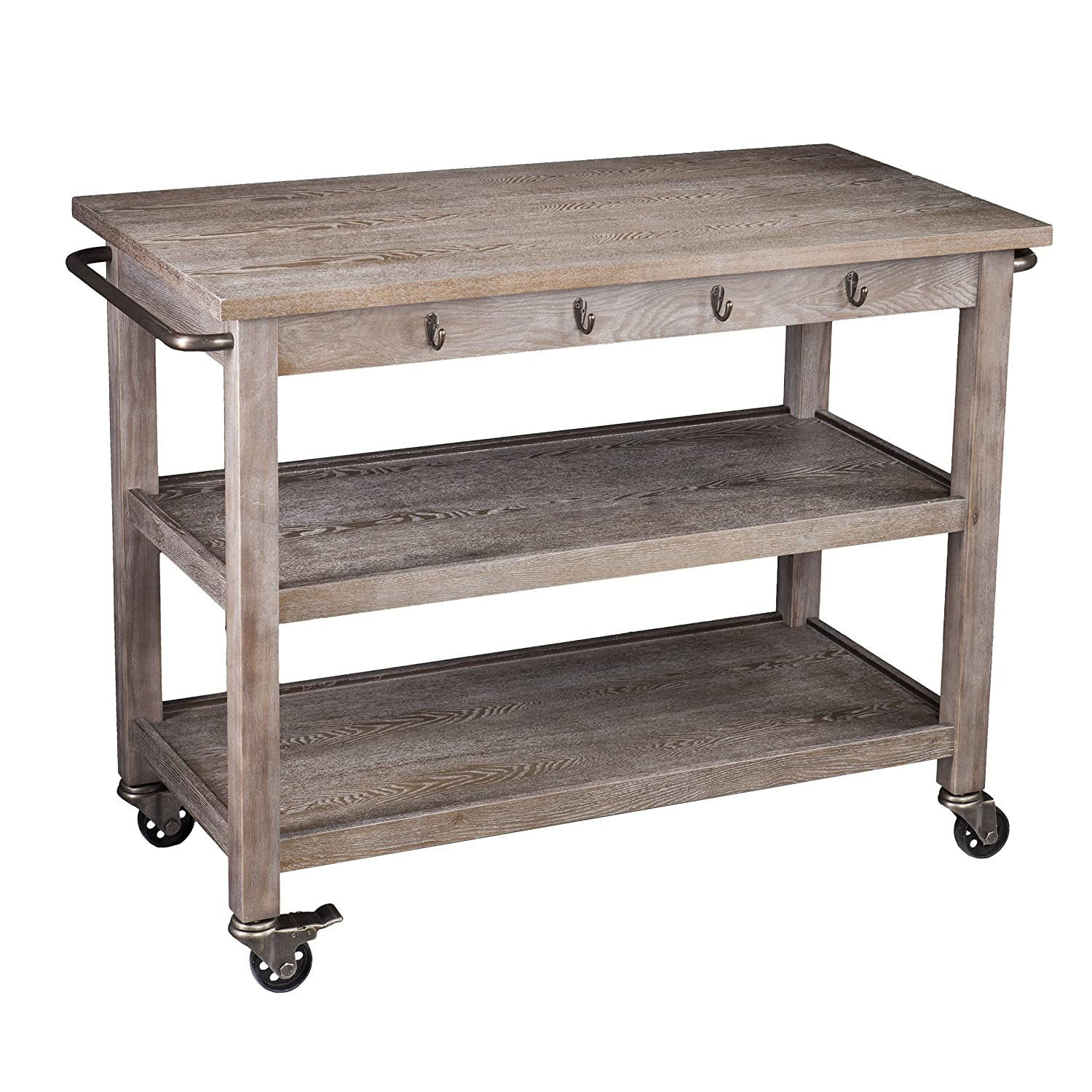 White wash burnt oak kitchen cart