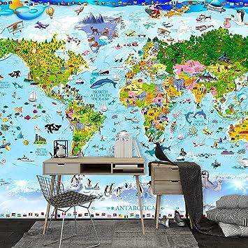 Hervorragend Decomonkey | Fototapete Weltkarte Kinder Tiere Kindertapete Bunt 50x35 Cm | Design  Tapete | Fototapeten |