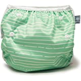 Nageuret Reusable Swim Diaper, Adjustable & Stylish Fits Diaper Sizes N-5 (8-36lbs) Ultra Premium Quality For Eco-Friendly Baby Shower Gifts & Swimming Lessons (Green Stripes)