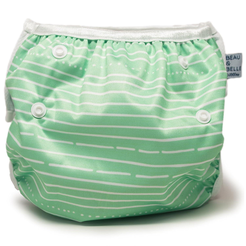 Beau & Belle Littles nageuret riutilizzabile e pannolino nuotatore regolabile 6 - 36 libbre Strisce verdi BeauBelleGreenStripes
