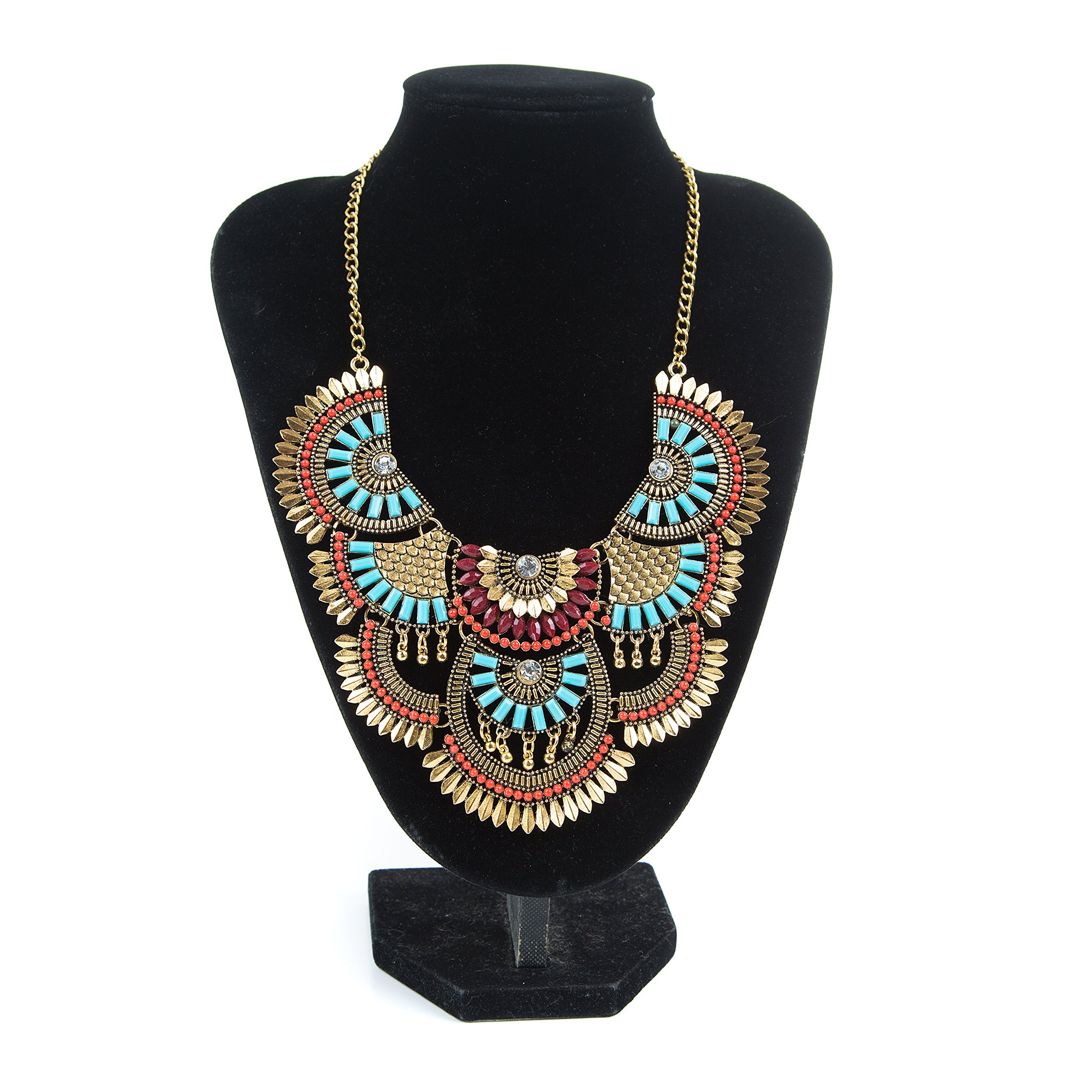 Miraculous Garden Womens Vintage Alloy Silver/Gold Boho Bohemian Necklace Ethnic Tribal Boho Necklace Turquoise Beads Crystal Necklace (Antique Gold)