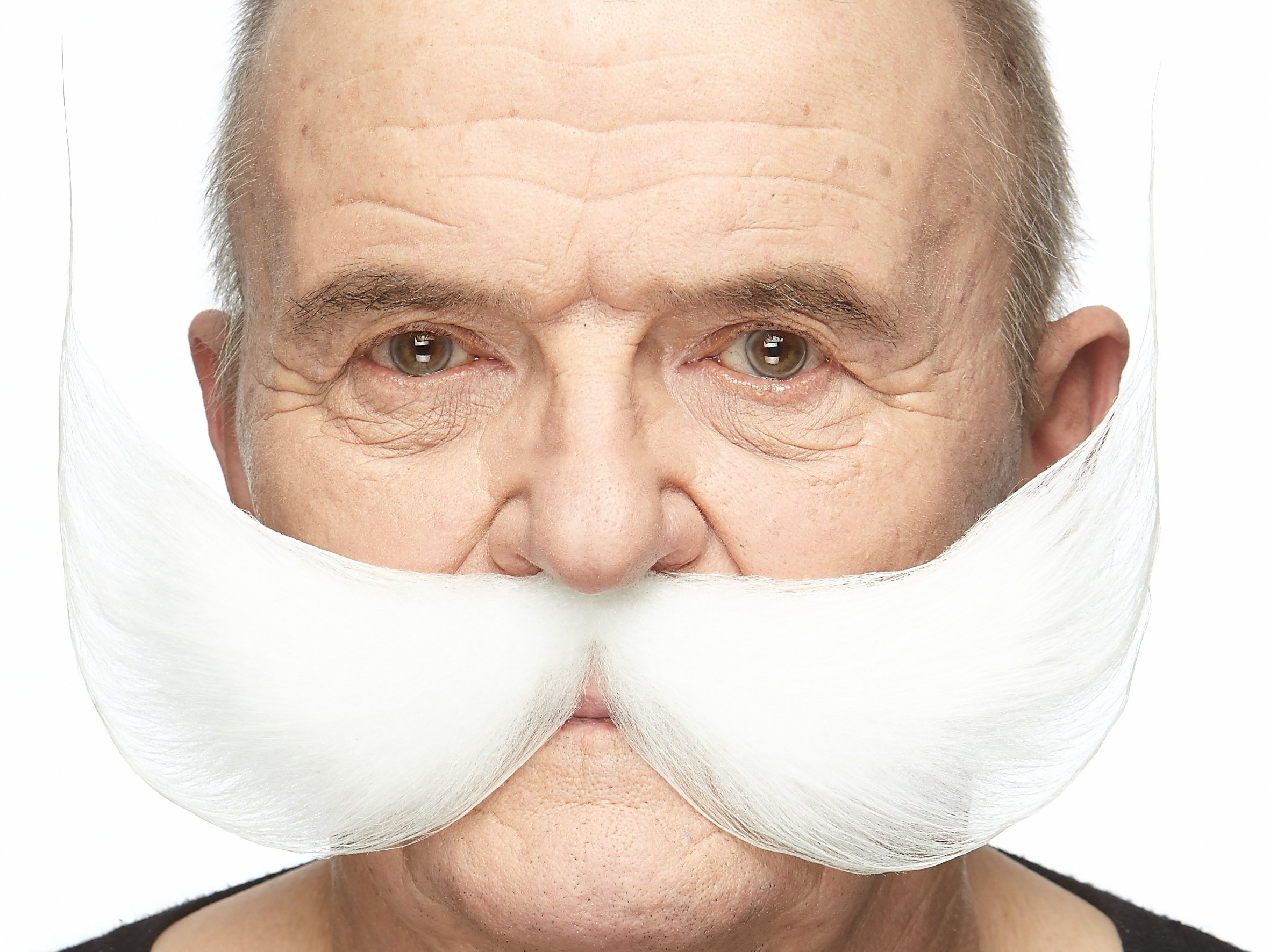 Mustaches Self Adhesive, Novelty, Fake Fisherman's, White Color