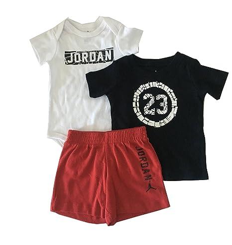Amazon Com Jordan Infant Boys 3 Piece Bodysuit Tee Shirt And