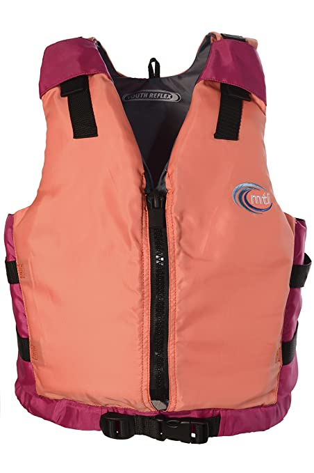 MTI Adventurewear Youth Girls Reflex PFD Life Jacket, Coral/Berry, 50-90