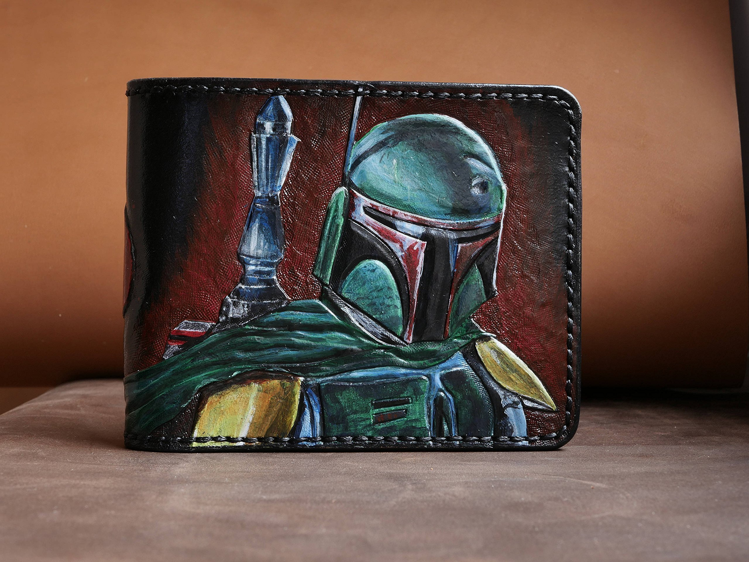 Men's 3D Genuine Leather Wallet, Hand-Carved, Hand-Painted, Leather Carving, Custom wallet, Personalized wallet, Boba Fett's, Star Wars
