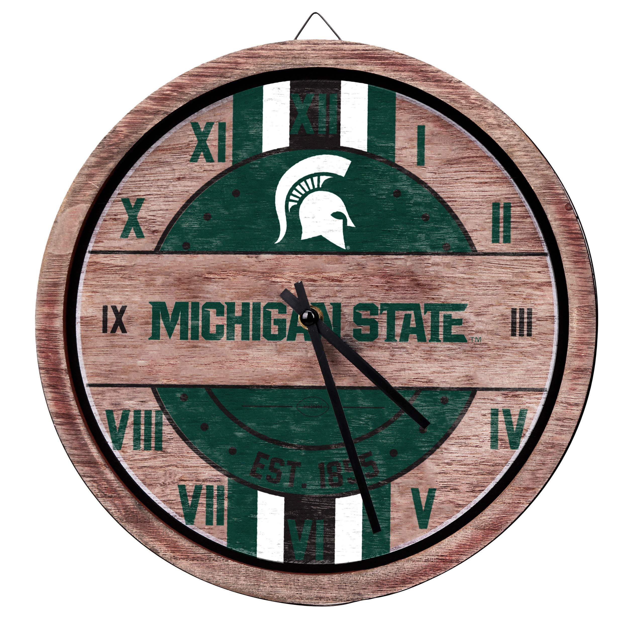 FOCO NCAA Michigan State Spartans Team Logo Wood Barrel Wall ClockTeam Logo Wood Barrel Wall Clock, Team Color, One Size by FOCO