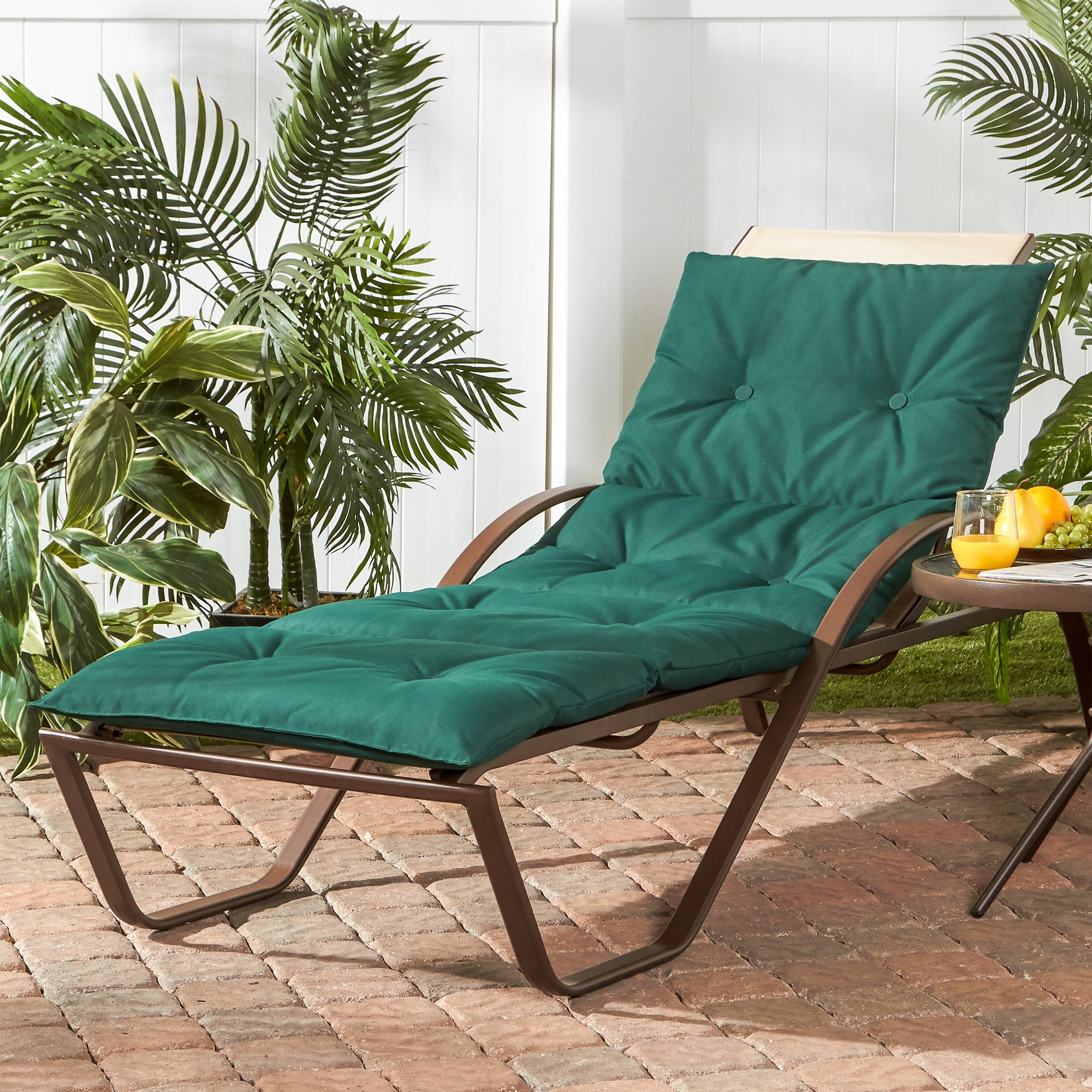 Greendale Home Fashions OC8665-FORESTGREEN Outdoor Lightweight Chaise Cushion, Forest Green