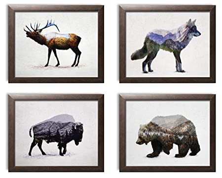 Rustic Elk, Bison, Wolf and Bear Landscape Set Cabin Lodge Decor Four 10x8in MDF Mounted Prints