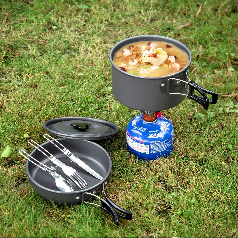 ODOLAND Acampar Kit de Utensilios de Cocina Portable Hoguera de Cook Set Utensilios Equipo de Cocina para el Campamento itinerante Equipo de Senderismo al Aire