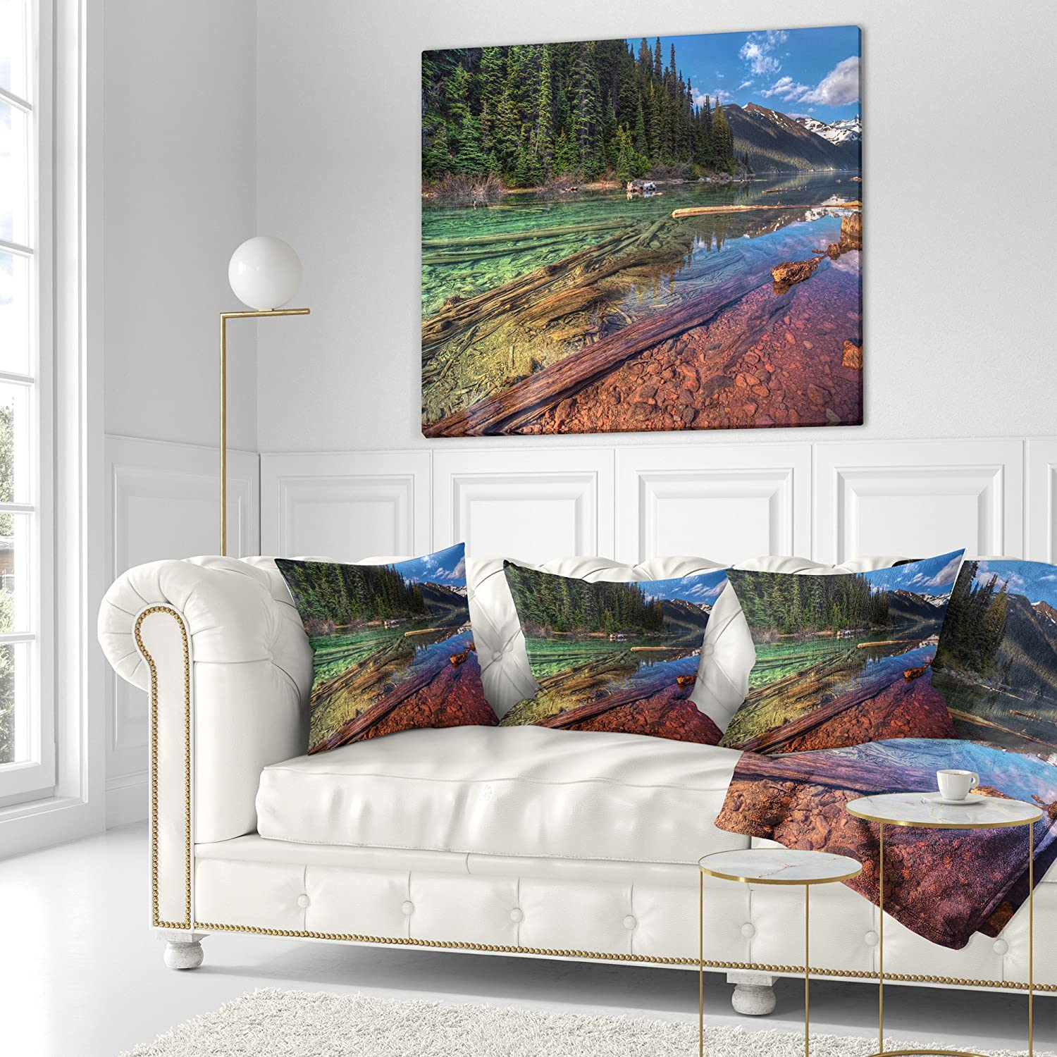 Designart Cu14448 26 26 Beautiful View Of Mountain Lake Landscape Printed Cushion Cover For Living Room