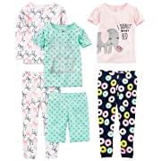 Simple Joys by Carter's Baby Girls 6-Piece Snug Fit Cotton Pajama Set, Donuts/Zebra/Dots, 12 Months