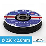 Lot de 10 disques à tronçonner Ø 230 mm x 2.0 mm pour meuleuse d'angle acier inox Flex Disque inox métal