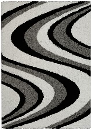 Amazon Com Soft Shag Area Rug Swirl Striped Black Grey Shaggy