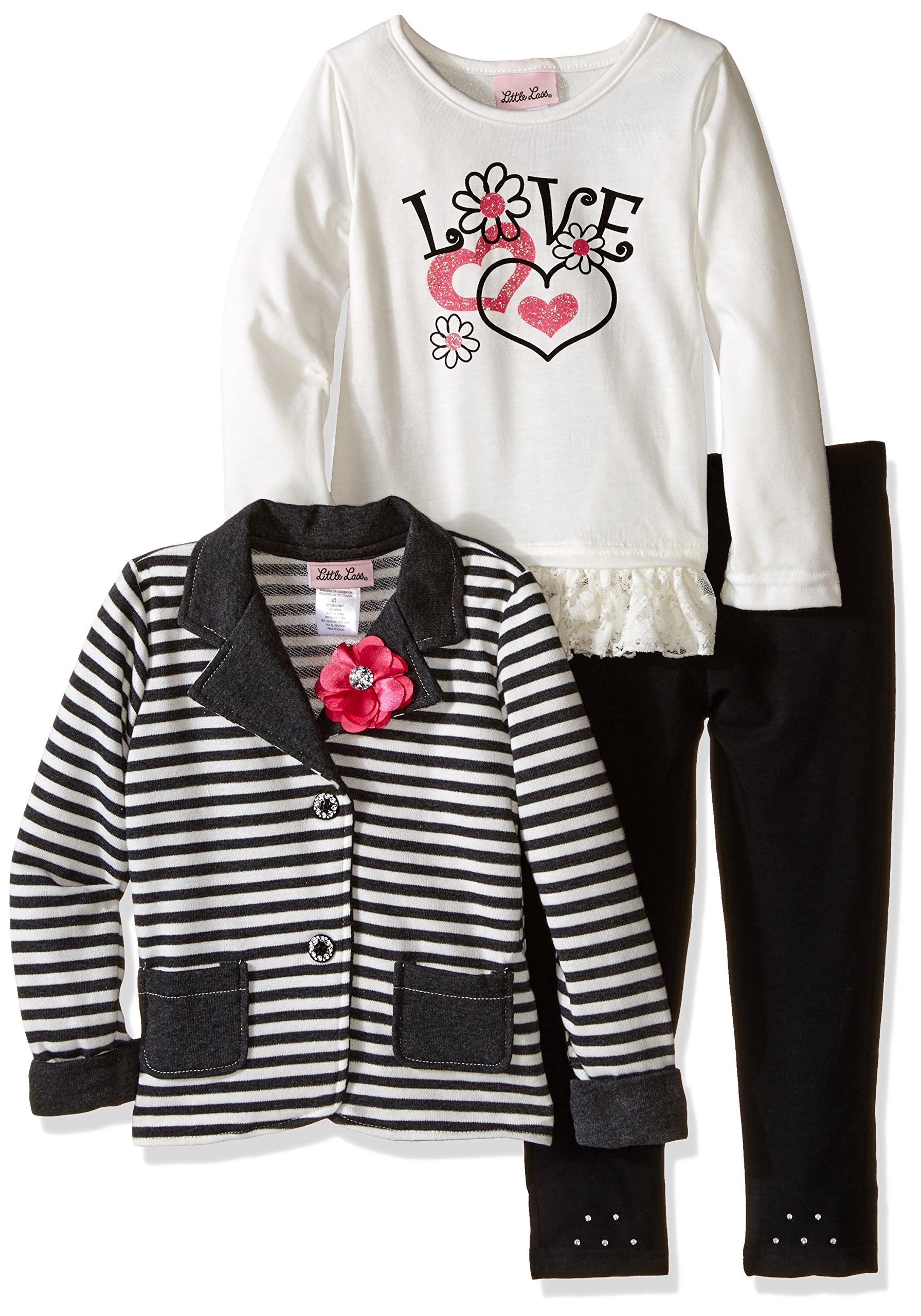 Little Lass Girls' Little Girls' 3 Piece Jacket Set Stripes, Charcoal Grey, 4