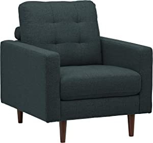 "Rivet Cove Modern Tufted Accent Chair with Tapered Legs, Mid-Century, 32.7""W, Denim"
