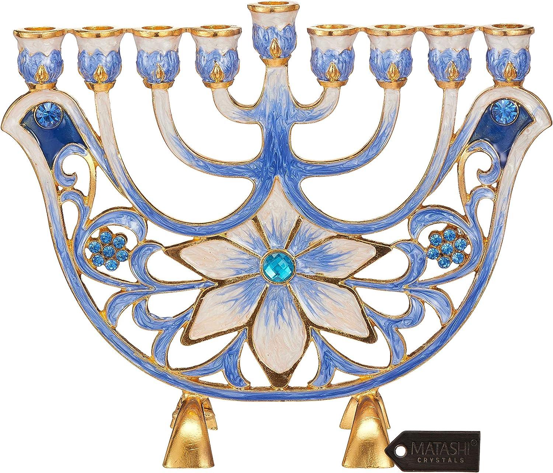 Matashi MTMNR13547 Hand Painted Ivory Menorah Candelabra, Embellished with Gold Accents, Blue Flower