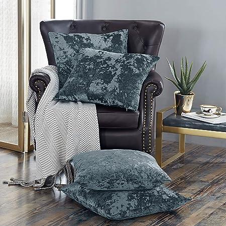 Home Soft Things Serenta Crushed Velvet 4 Piece Pillow Shell Set, Gun Metal, 20 x 20