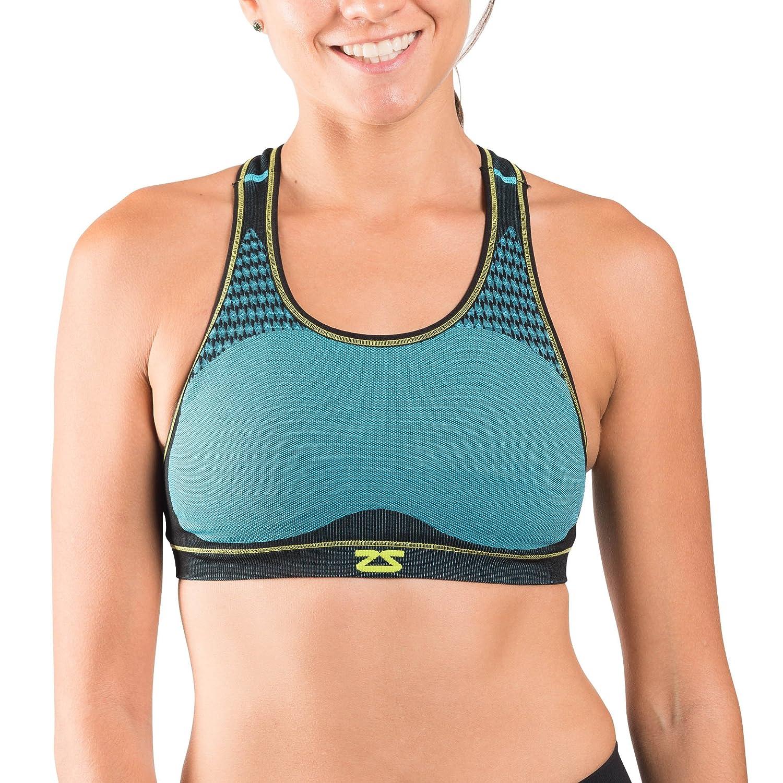 Zensah Popシームレススポーツブラ – Moisture Wicking、no-chafing、レーサーバック – Great forヨガ、ランニング、スポーツ B01N8ULAPL アクア Medium/Large
