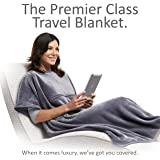 Travelrest 4-in-1 Premier Class Travel Blanket with Zipped Pocket - Soft & Luxurious - Also Use As Lumbar Support or Neck Pillow (Includes Stuff Sack)