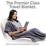 Travelrest 4-in1 Premier Class Travel Blanket with Pocket - Covers Shoulders - Soft and Luxurious (#1 BEST SELLER) - GREAT HOLIDAY GIFT! (40 x 72 inches, Grey)