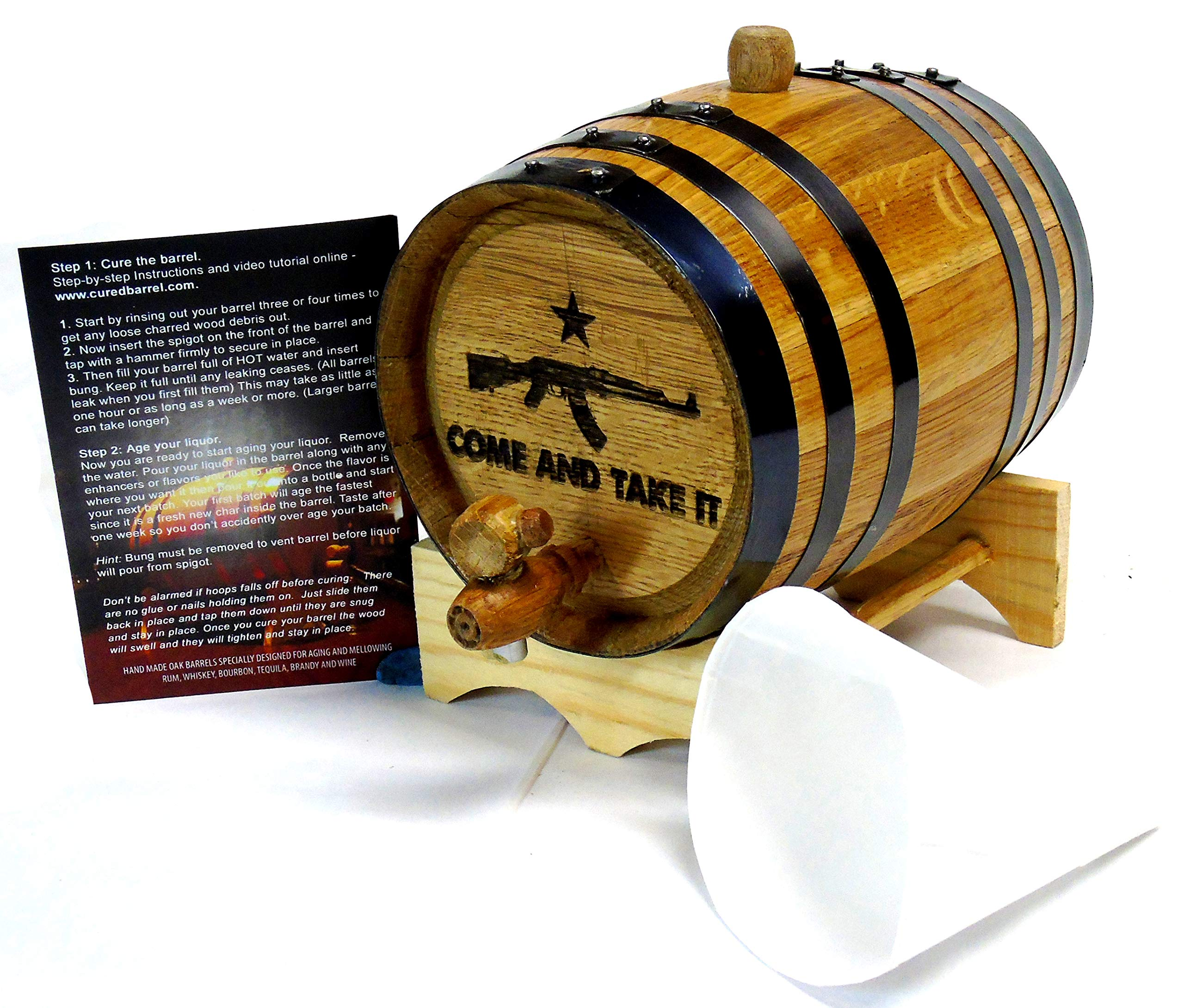 Engraved 2 Liter Charred American White Oak Aging Barrel (Come & Take It) by Red Head Barrels
