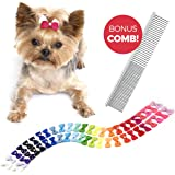 The Thoughtful Brand 50 Pcs Dog Bows with Rubber Bands (25 Pairs) - Strong Hold Hair Bows for Dogs - Pet Bows for Small…