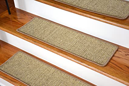 Dean Attachable Non Skid Sisal Carpet Stair Treads   Desert   Set Of 13
