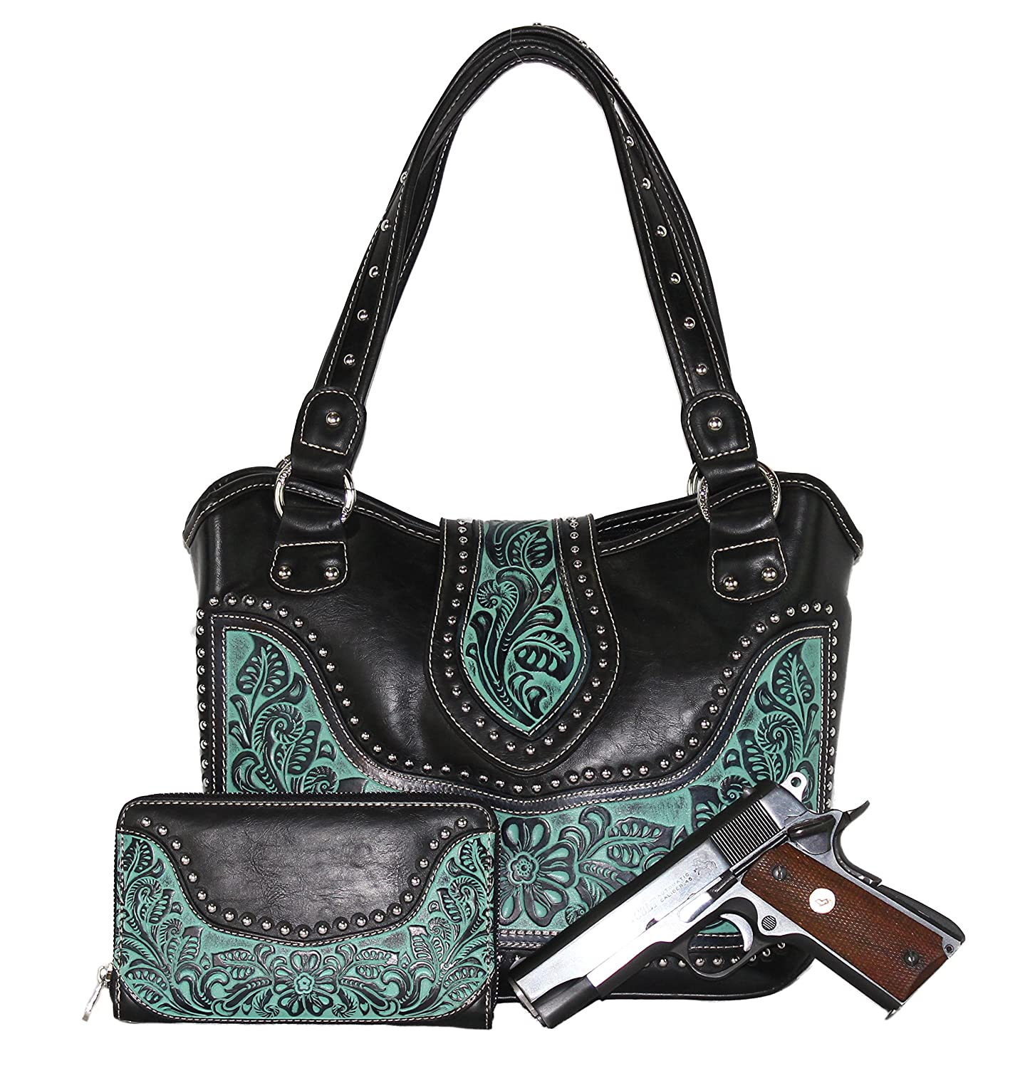 Concealed Carry Purse and Wallet - CCW Tooled Gun Purse with Matching Wallet by Montana West