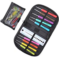 CO-Z Ergonomic Multicolor Aluminum Crochet Hooks Multi-Size Knitting Hooks Set with Knitting Accessories and Storage Case